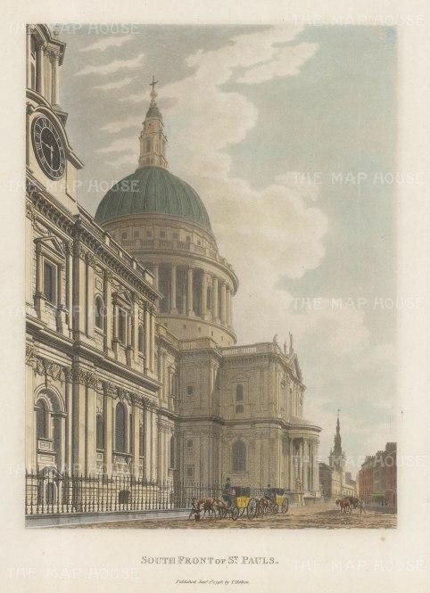 "Malton: St. Paul's Cathedral. 1792. A hand coloured original antique aquatint. 11"" x 14"". [LDNp3293]"