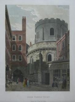 "Malton: Inner Temple Court.. 1792. A hand coloured original antique aquatint. 11"" x 14"". [LDNp3299]"