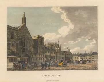"Malton: New Palace Yard, Westminster. 1792. A hand coloured original antique aquatint. 14"" x 11"". [LDNp3301]"