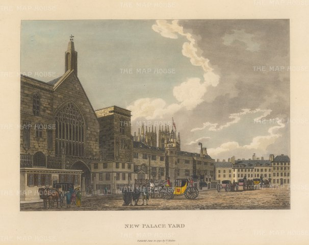 "Malton: New Palace Yard. 1792. A hand coloured original antique aquatint. 14"" x 11"". [LDNp3301]"