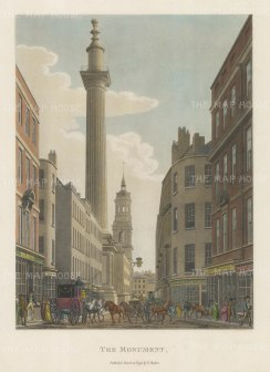 "Malton: Monument. 1792. A hand coloured original antique aquatint. 11"" x 14"". [LDNp3313]"