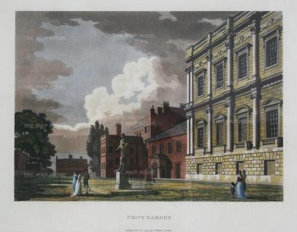 """Malton: Privy Gardens, Whitehall. 1792. A hand coloured original antique aquatint. 14"""" x 11"""". [LDNp3316]"""