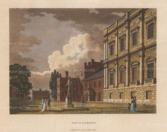 "Malton: Privy Garden, Whitehall. 1792. A hand coloured original antique aquatint. 11"" x 14"". [LDNp3316]"