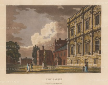 "Malton: Privy Garden, Whitehall. 1792. A hand coloured original antique aquatint. 14"" x 11"". [LDNp3316]"