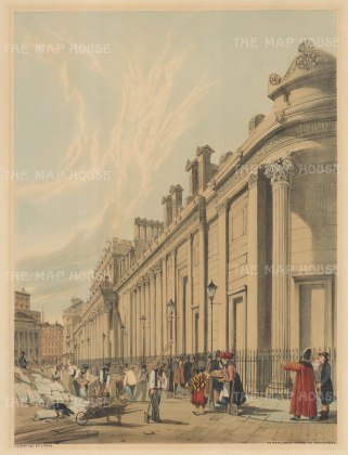 Bank of England looking towards Mansion House and the south side of St Bartholomew Lane. To the right of Manson House is the spire of St Antholin, Budge Row.