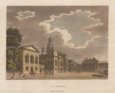 "Malton: The Parade, Horse Guards. 1792. A hand coloured original antique aquatint. 14"" x 11"". [LDNp3359]"