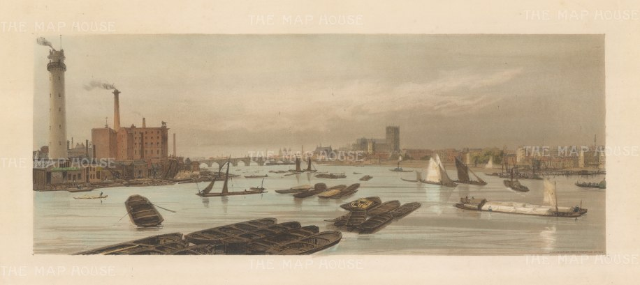 Westminister from Waterloo Bridge. View of Shot Tower, the Red Lion Brewery, Westminster Bridge, St John's and Westminster Abbey and Hall.