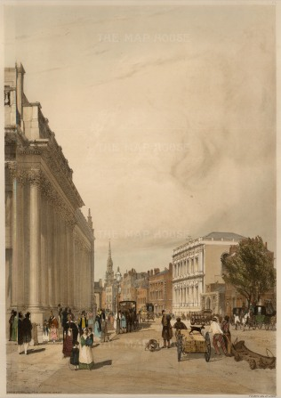 Board of Trade, Whitehall from Downing Street. Showing Sir John Soane's offices, the Banqueting House and the spire of St Martin in the Fields.