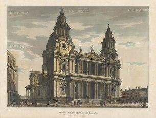 "Malton: St. Paul's Cathedral, North West View. 1792. A hand coloured original antique aquatint. 14"" x 11"". [LDNp4482]"