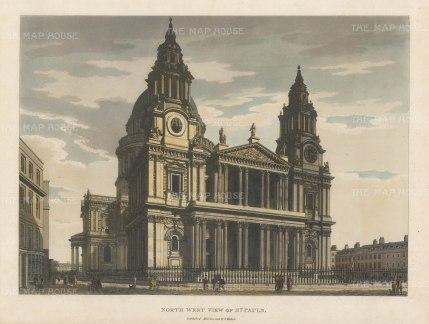 "Malton: St. Paul's Cathedral, North West View. 1792. A hand coloured original antique aquatint. 11"" x 14"". [LDNp4482]"