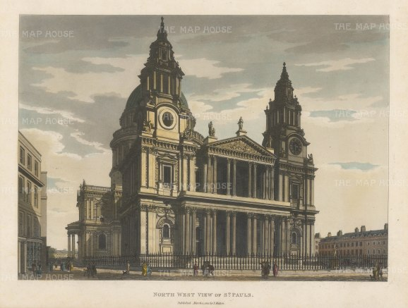 "Malton: St. Paul's Cathedral, North West View. 1792. A hand coloured original antique aquatint. 14"" x 11"". [LDNp4482]"