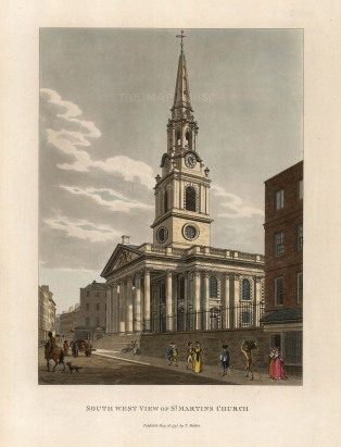 "Malton: St Martin's in the Fields. 1792. A hand coloured original antique aquatint. 11"" x 14"". [LDNp6503]"