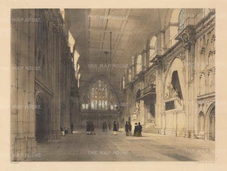 """Guildhall: Interior scene showing Gog and Magog, protectors of the City. """"T.S. Boys"""" is carved a third of the way up the pillar on the left hand side."""