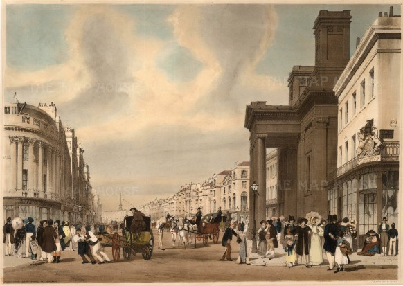 "Regent Street: Looking towards the Quadrant between Prince's Street and Hanover Street and showing Cockerell's Hanover Chapel. A poster carried by a young boy says ""Vote for Boys""."