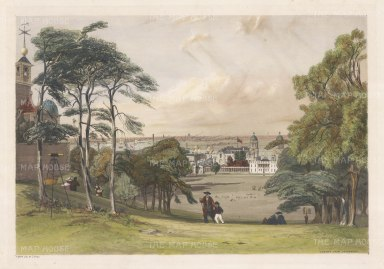 SOLD Greenwich: View from the Observatory across London. Classic view from Flamsteed House, below Wolfe memorial statue. Also visible the Queen's House, the Naval College (then known as the Naval Asylum), the winding Thames. the Isle of Dogs and the City of London.