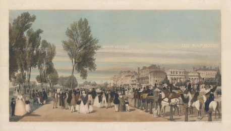 Hyde Park. Showing Park Lane, Grosvenor House and one of Decimus Burton's white Grecian lodges at Grosvenor Gate.
