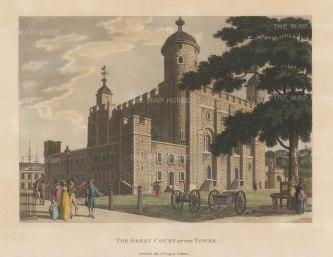 "Malton: Tower of London. 1792. A hand coloured original antique aquatint. 11"" x 14"". [LDNp8751]"