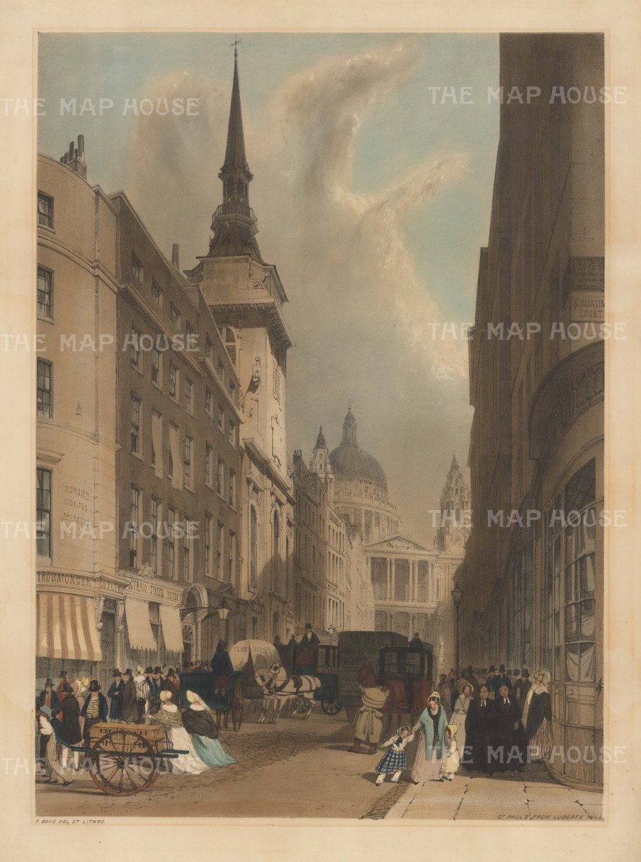 "St. Paul's from Ludgate Hill with St Martin, Ludgate. To the right two Christ's Hospital scholars stroll and further up, above the street sign, another sign advertises ""Boys""."