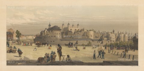 SOLD Tower and Mint from Great Tower Hill. Boys depicts himself sketching in the foreground of the former Royal Armoury with the two fat boys who would become John Tenniel's inspiration for Tweedledee and Tweedledum.