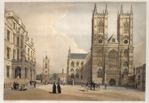 Westminster Abbey showing the west facade of the Abbey, St Margaret and Westminster Hospital with Westminster Hall beyond.
