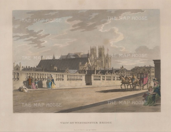 "Malton: Westminster Bridge. 1792. A hand coloured original antique aquatint. 14"" x 11"". [LDNp9497]"