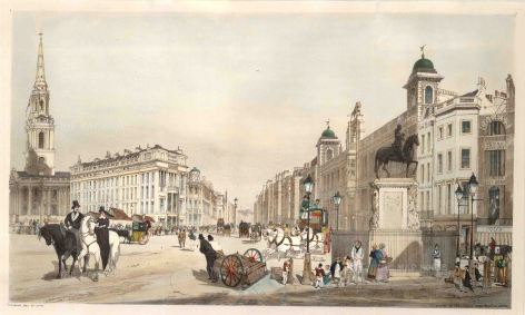 """Charing Cross: Entry to the Strand from Charing Cross, showing the portico of St Martin in the Fields, the opening of the Strand and Northumberland House. Inscribed on the pedestal of Charles I's statue is """"T. S. Boys 1841""""."""