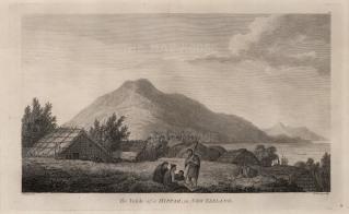 Motuara, Marlborough Sound. Maori Hippah or Pa with houses made of reeds. After John Webber, artist on the Third Voyage.