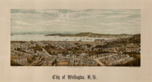 Wellington: Panoramic view over the city towards the harbour. Edward Wakefield's New Zealand Land Company established numerous settlements that became principal towns.