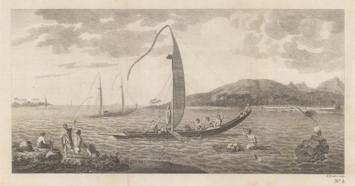 Matavai Bay with Tahitian boats. Ivahahs are wall-sided, flat-bottomed and for short excursions; Pahies are bow-sided., sharp-bottomed and for longer voyages. After Sydney Parkinson, artist on the First Voyage.