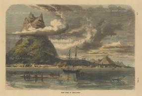 "Collins: Bora Bora. c1880. A hand coloured original antique wood engraving. 11"" x 7"". [PLYp249]"