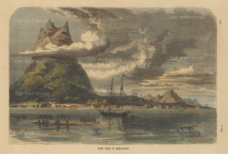 "Collins: Bora Bora. c1880. A hand coloured original antique wood engraving. 11"" x 7"". [PLYp249]"