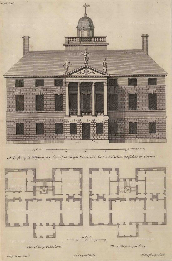 Elevation and plans of the ground and principal stories.