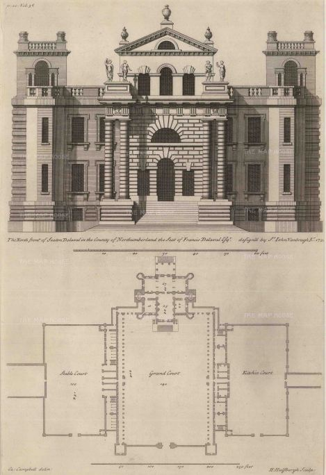 Seaton Delaval, Northumberland: Plan and elevation of one the North's great Halls, designed by Sir John Vanbrugh.