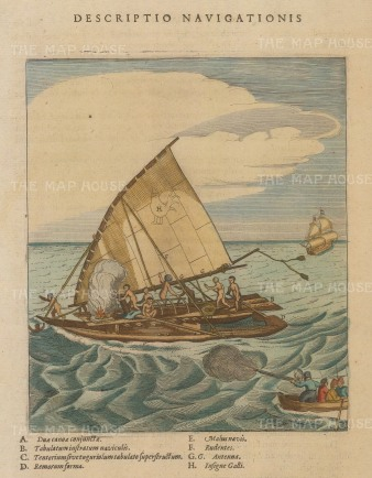 Costa Rica: French sailors attacking a native boat. With key.