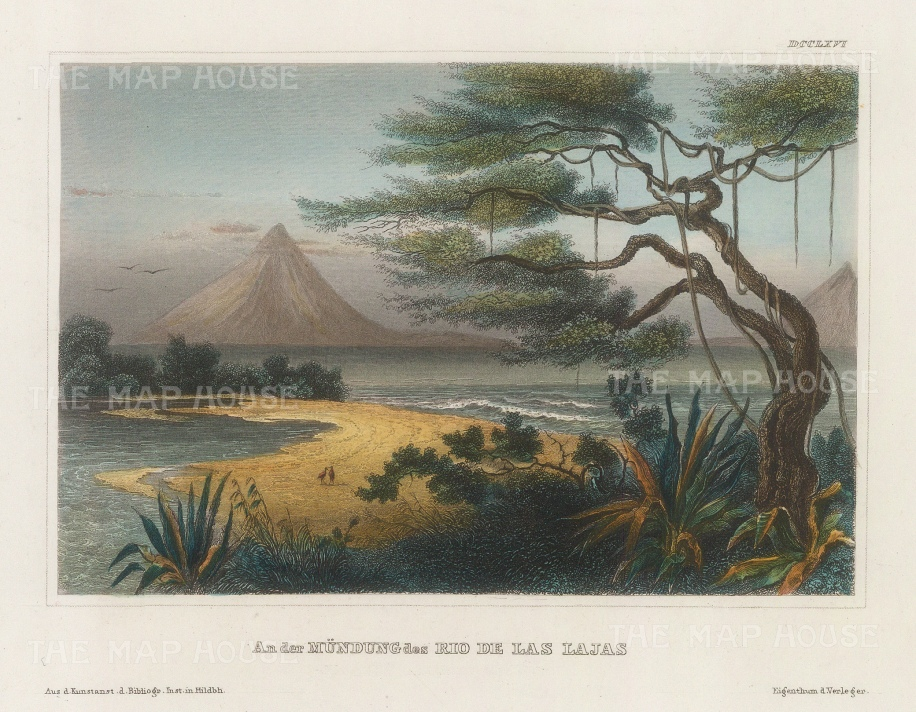 "Meyer: Boaco, Nicaragua. 1836. A hand coloured original antique steel engraving. 7"" x 6"". [CAMp209]"