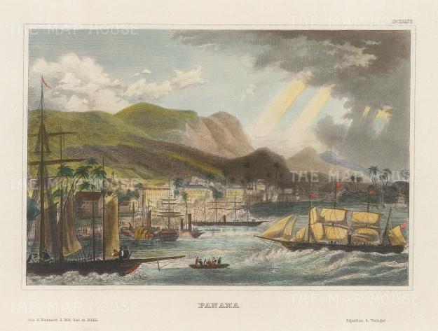 "Meyer: Panama City, Panama. 1836. A hand coloured original antique steel engraving. 7"" x 6"". [CAMp214]"