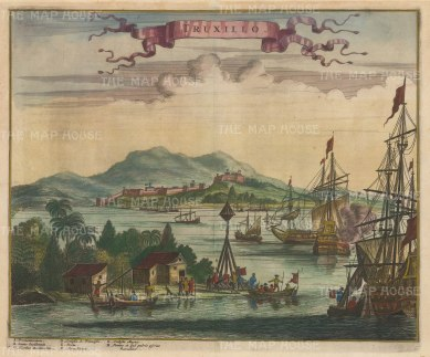 Truxillo, Honduras: Panoramic view of the fortified capital town at the mouth of the Gulf of Honduras. Regularly sacked by pirates, it was deemed indefensible and abandoned by the end of the 18th century.