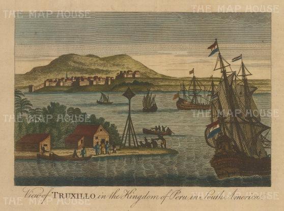 "Bankes. Truxillo, Honduras. c1780. A hand coloured original antique copper engraving. 8"" x 6"". [CAMp216]"