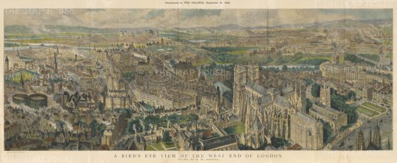 "Graphic Magazine: West End of London. A hand coloured original antique wood engraving. 45"" x 18"". [LDNp10494]"