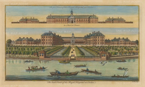 Chelsea Royal Hospital: Double panorama showing the grounds from the Thames, and an elevation of the main building.