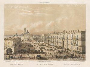 SOLD Mexico City: St. Domingo Plaza. Bird's eye view towards the church.