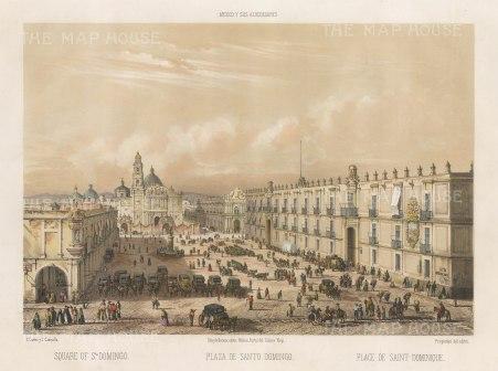 Mexico City: St. Domingo Plaza. Bird's eye view towards the church.