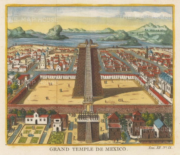 Mexico City: Templo Mayor. Dedicated to the Aztec Gods Huitzilpochli and Tlaloc, and demolished for the Cathedral in 1521.
