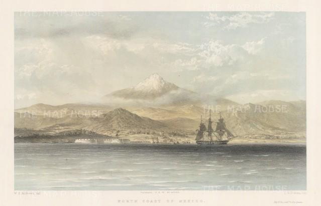 Coastal profile and volcano.