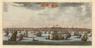 Panoramic view of the city with key in Dutch and German.