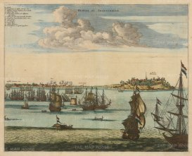 Olinda: At this time under Dutch control. With key in Latin.