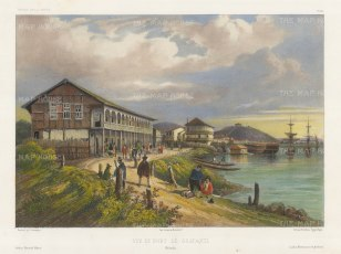 View of the Port on the Guayas River. After Barthélemy Lauvergne, artist on the voyage of La Bonite 1836-7.