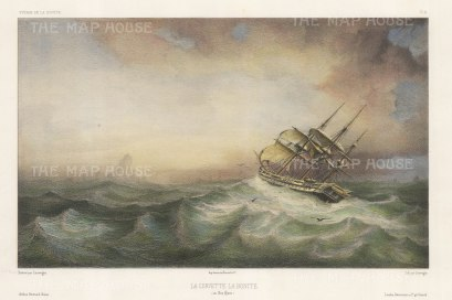 Cape Horn, Chile: La Bonite in a storm. After Barthelemy Lauvergne, artist on the voyage of La Bonite 1836-7.
