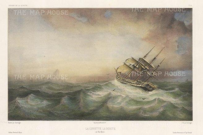 Cape Horn: La Bonite in a storm. After Barthelemy Lauvergne, artist on the voyage of La Bonite 1836-7.