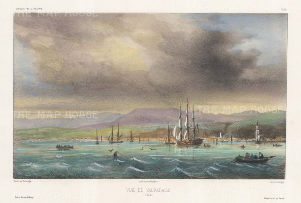 Valparaiso: View from the sea of the Port. After Barthelemy Lauvergne, artist on the voyage of La Bonite 1836-7.